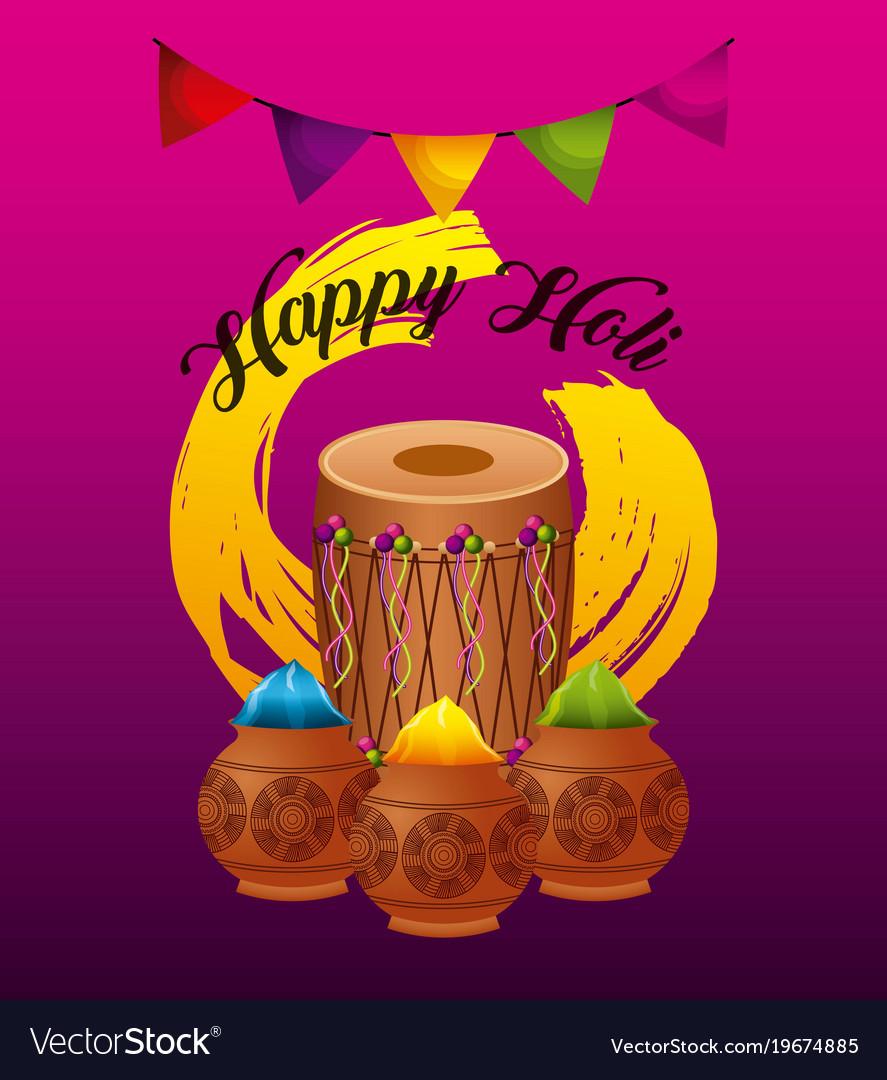 Happy holi greeting card dholak gulal powder color happy holi greeting card dholak gulal powder color vector image m4hsunfo