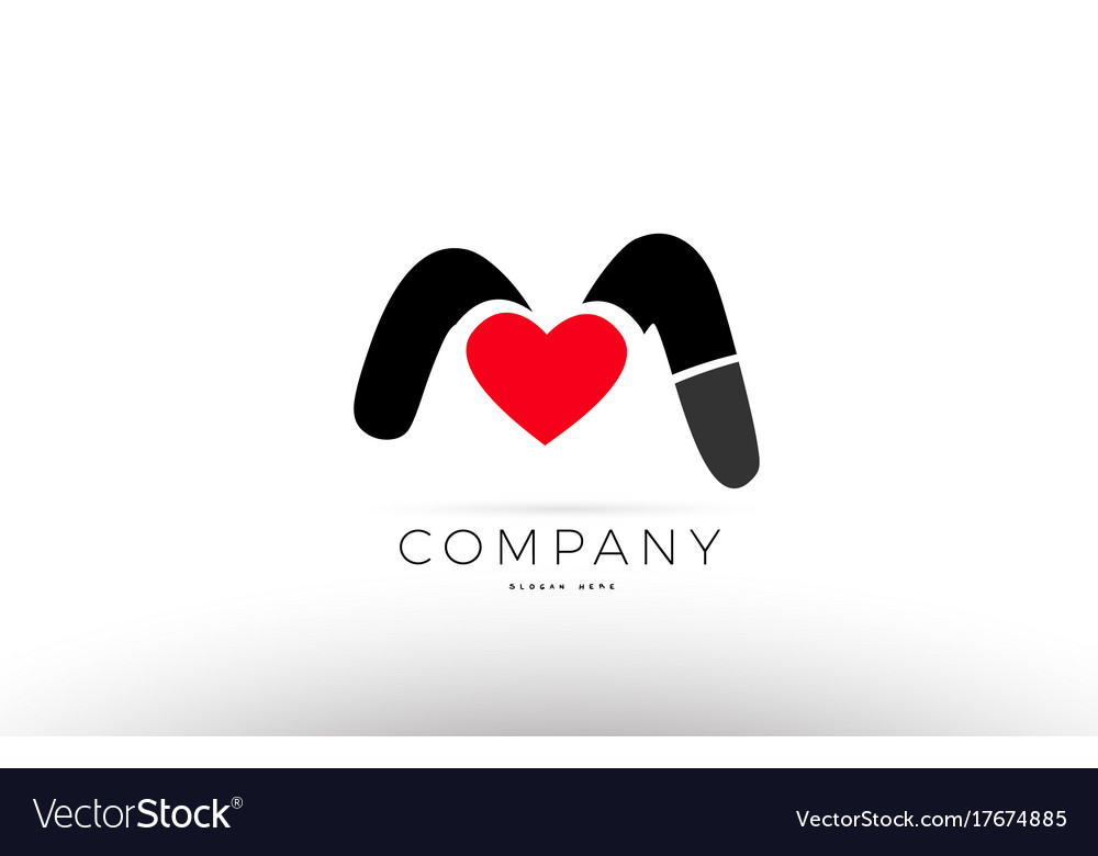 M Alphabet Letter Logo Icon With Love Heart Vector Image