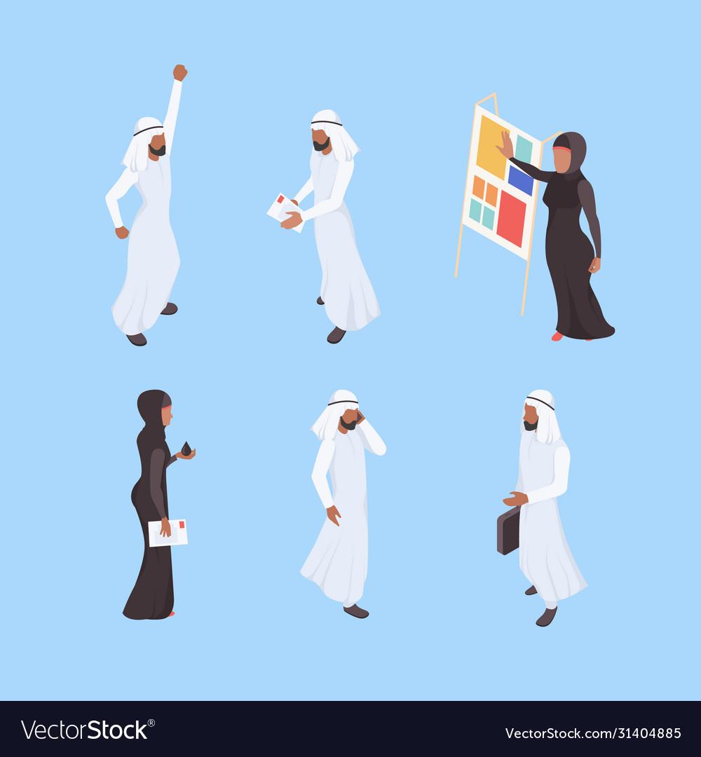Muslim isometric business arabic characters