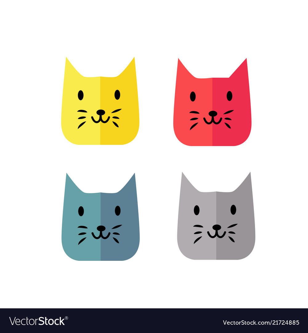 Simple and modern funny cat face color style