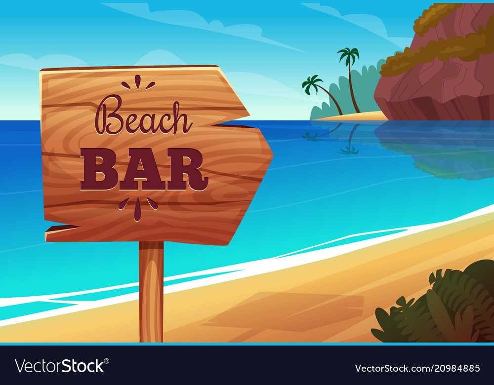 Summer background with wooden signboard on the