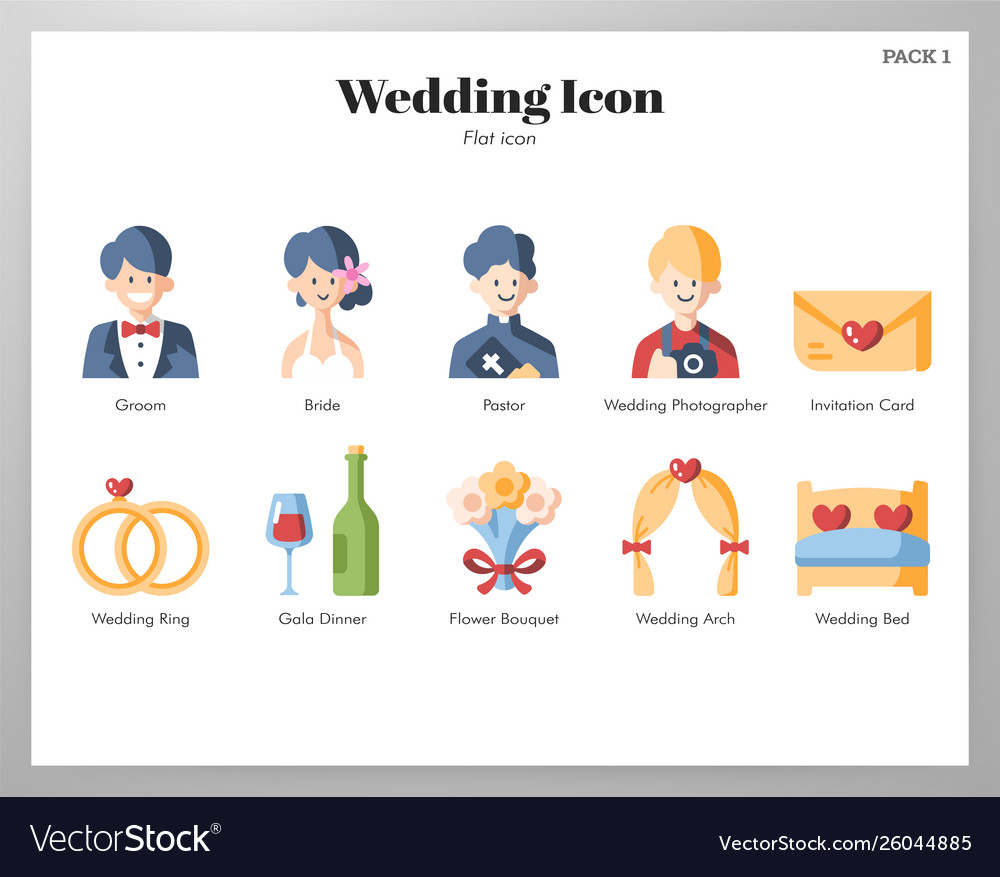 Wedding icons flat pack