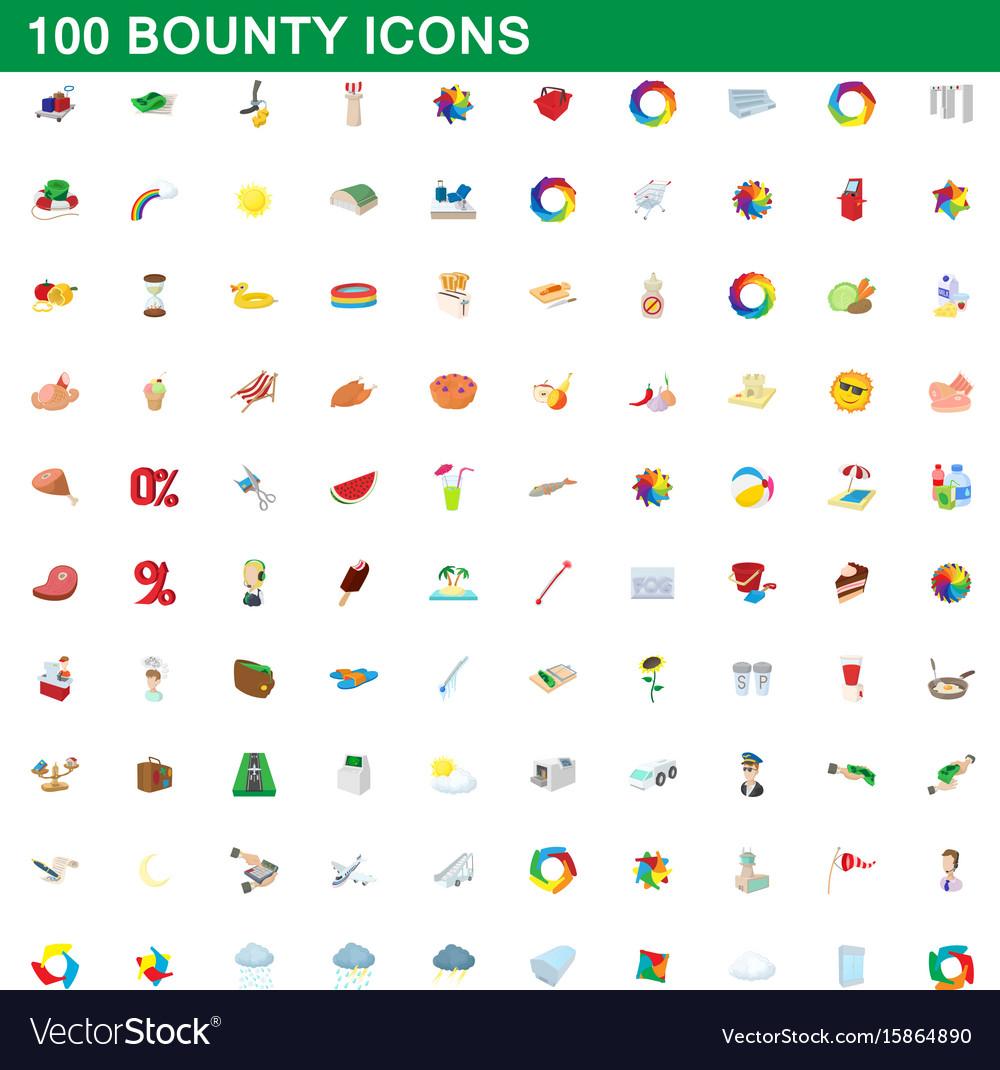 100 bounty icons set cartoon style