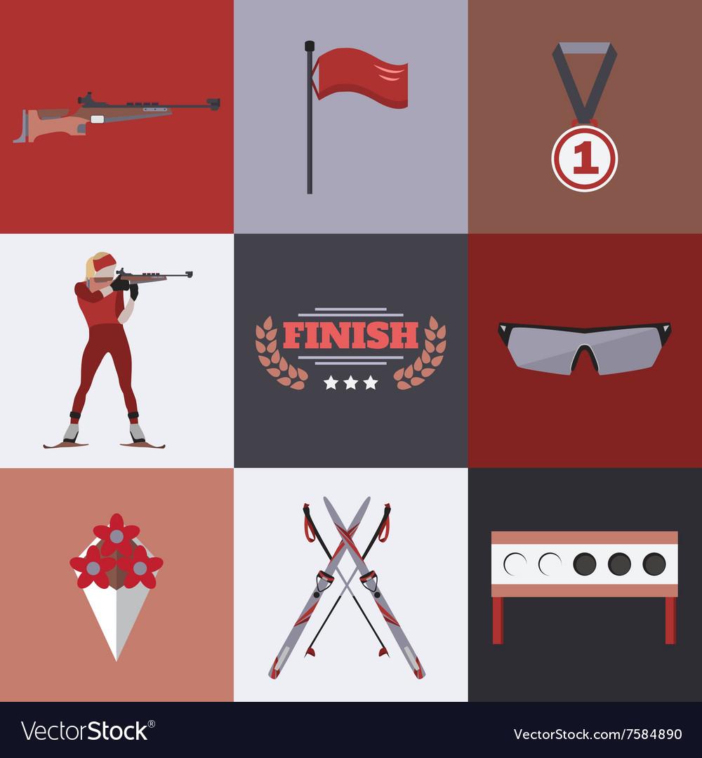 Biathlon icons set Flat style design Target ski