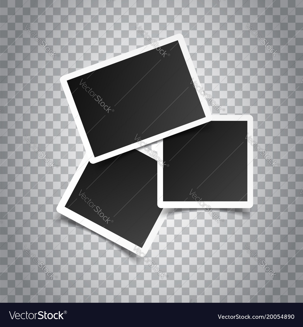 Blank retro photo frames on grey background vector image