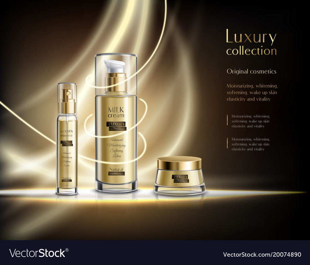 Cosmetic products realistic advertisement poster Vector Image