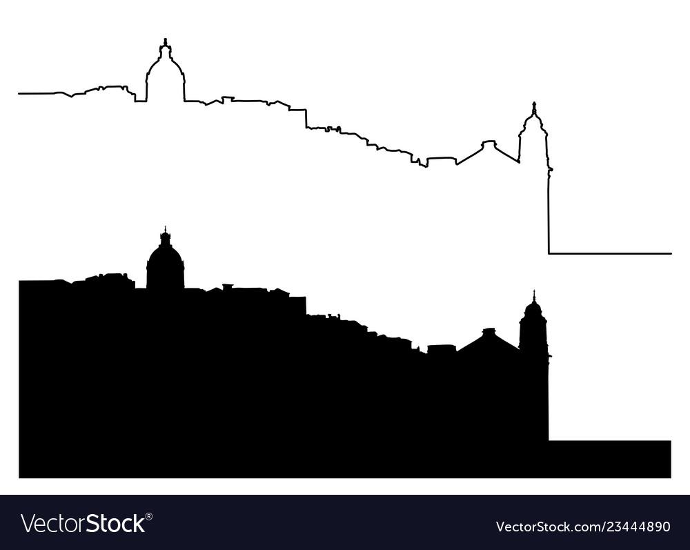 Lisbon silhouette outline cityscape