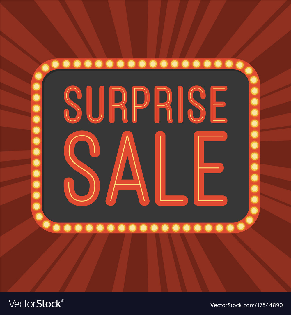 Neon text surprise sale and retro board with light