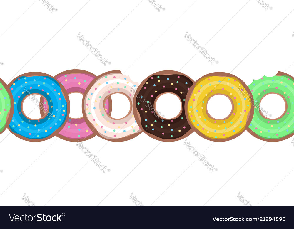 Seamless border with flat donuts in a row element