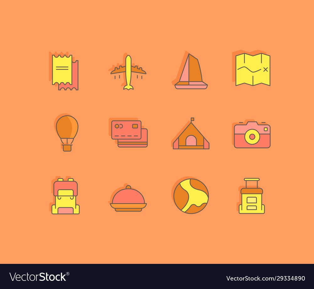 Set simple line icons travel