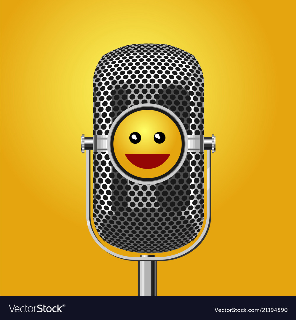 Stand up comedy show poster with microphone and