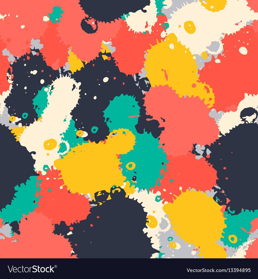 Art brush splash seamless pattern vector image