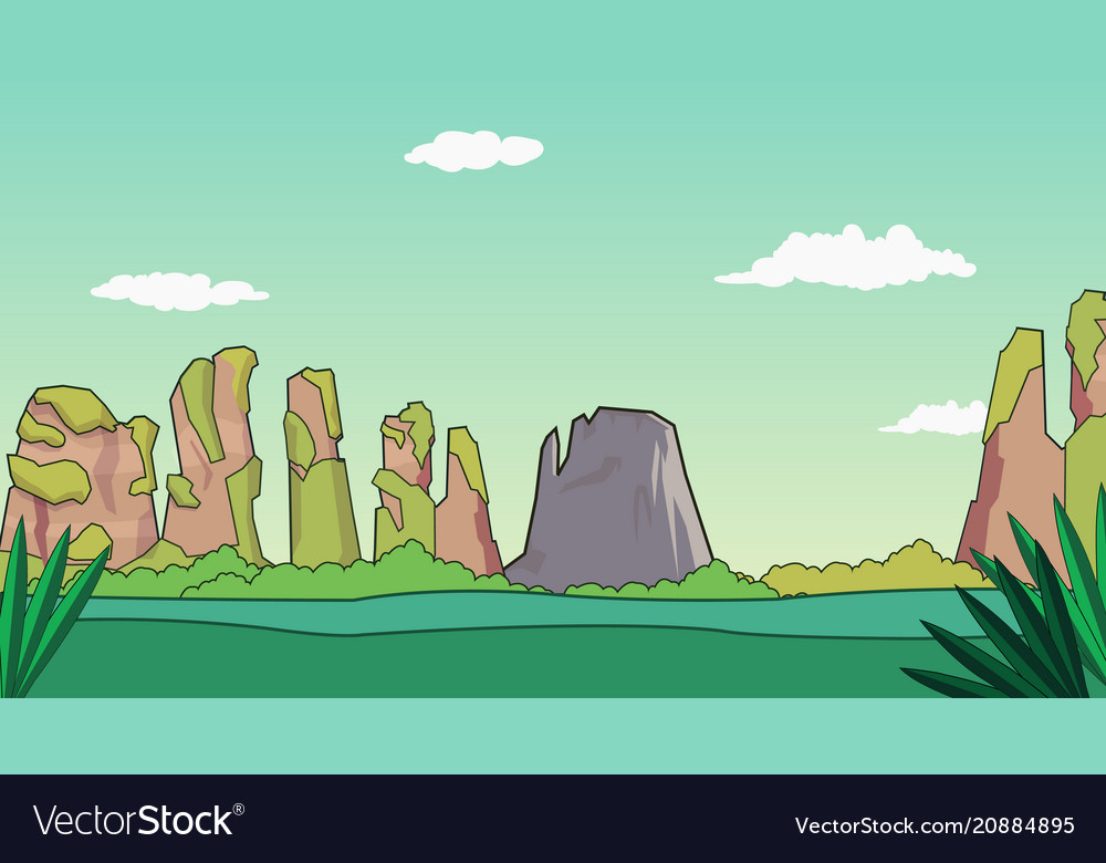 Cartoon nature landscape with mountains and sky