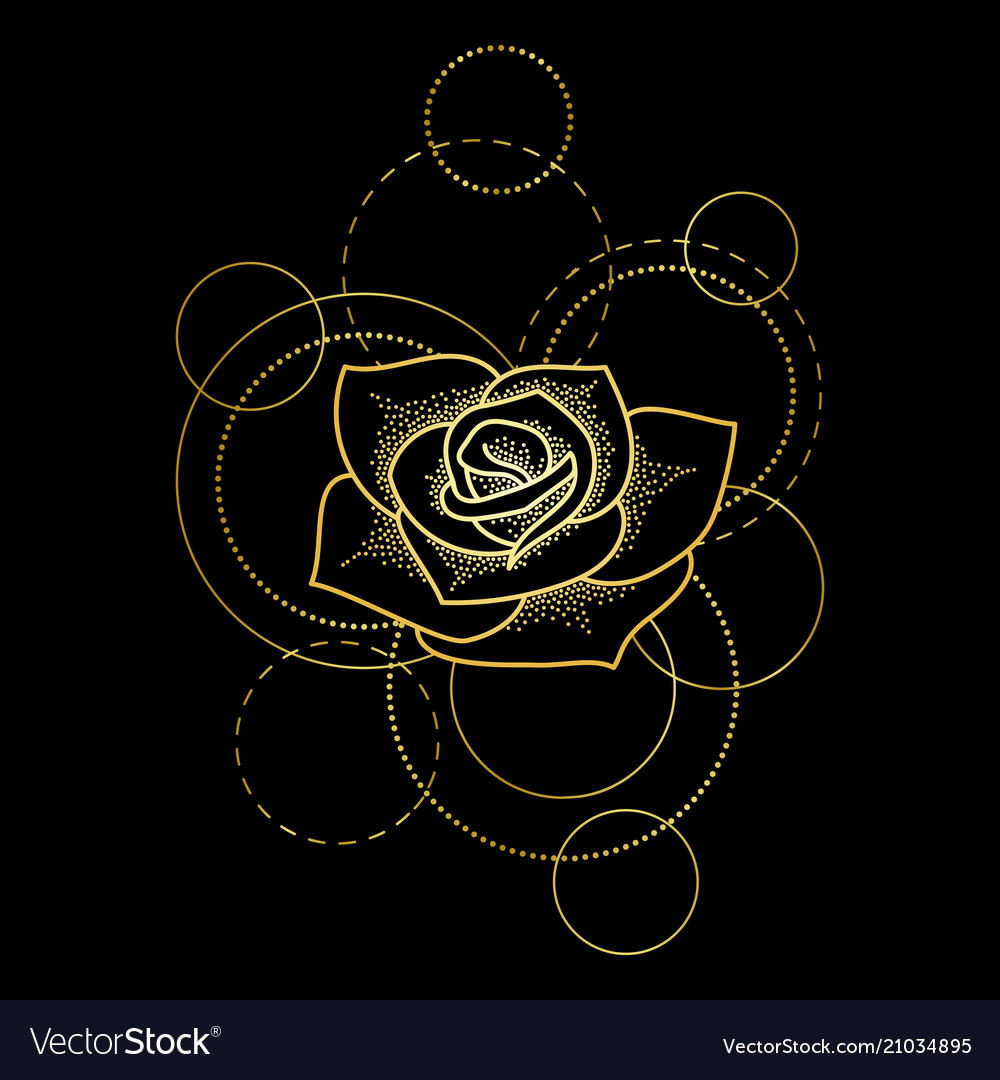 Gold rose and circles on black background
