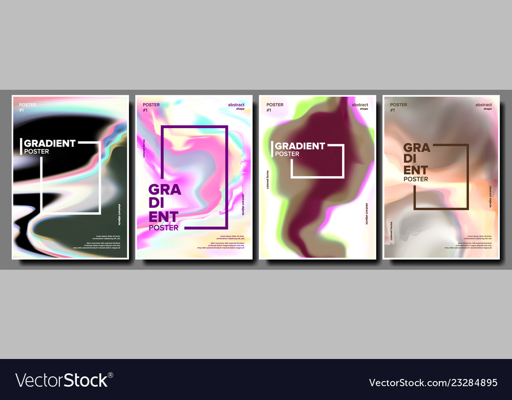 Gradient fluid poster set minimal