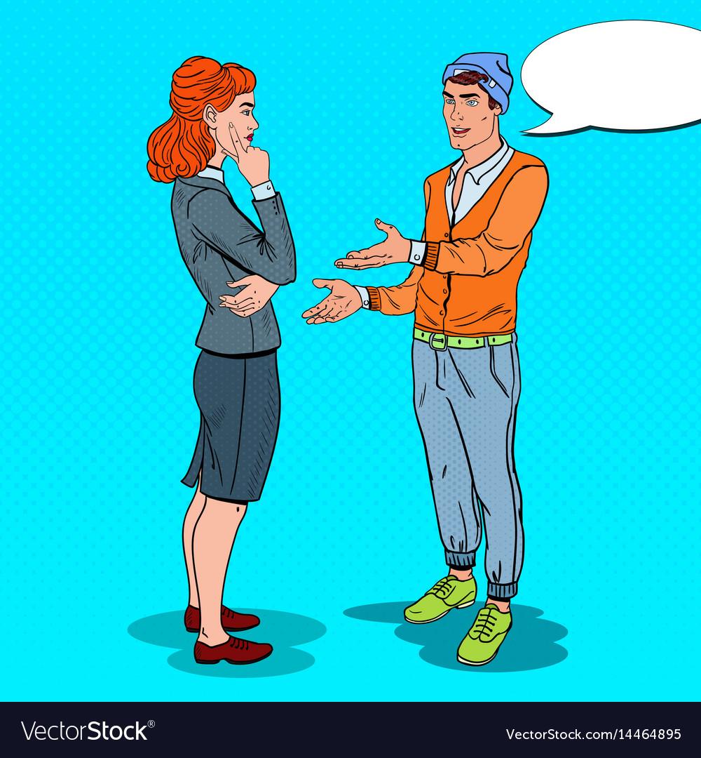 Man talking with business woman in office pop art
