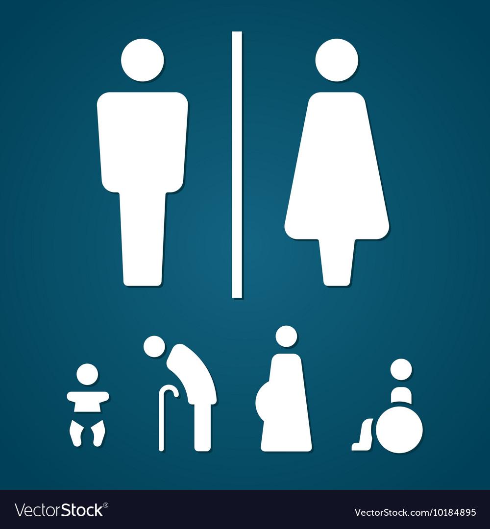 Restroom male female pregnant cripple oldster sign