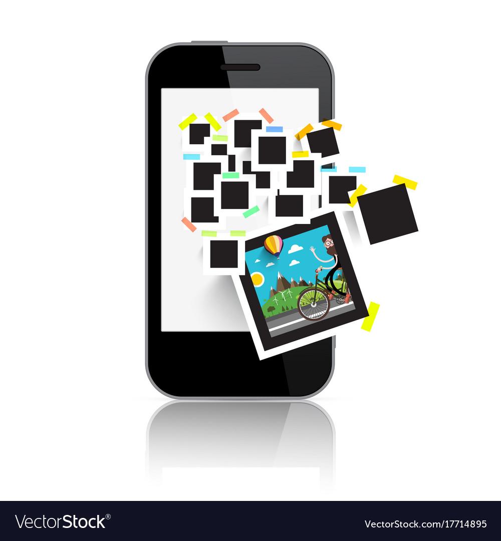 Retro film photo frames on smart phone display vector image