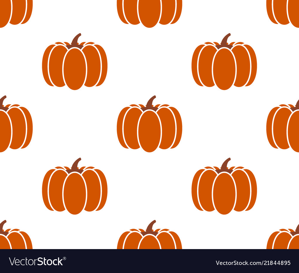 Seamless pumpkin background isolated on white