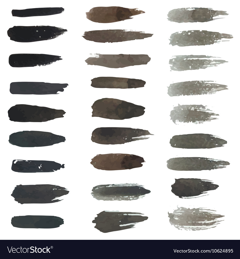 Set of grungy hand-painted brush strokes vector image
