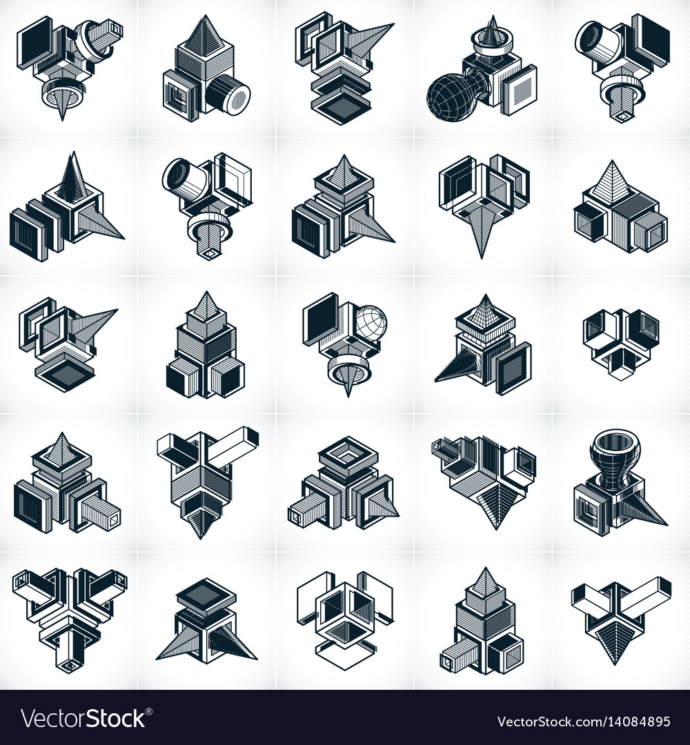 Set of isometric abstract geometric shapes