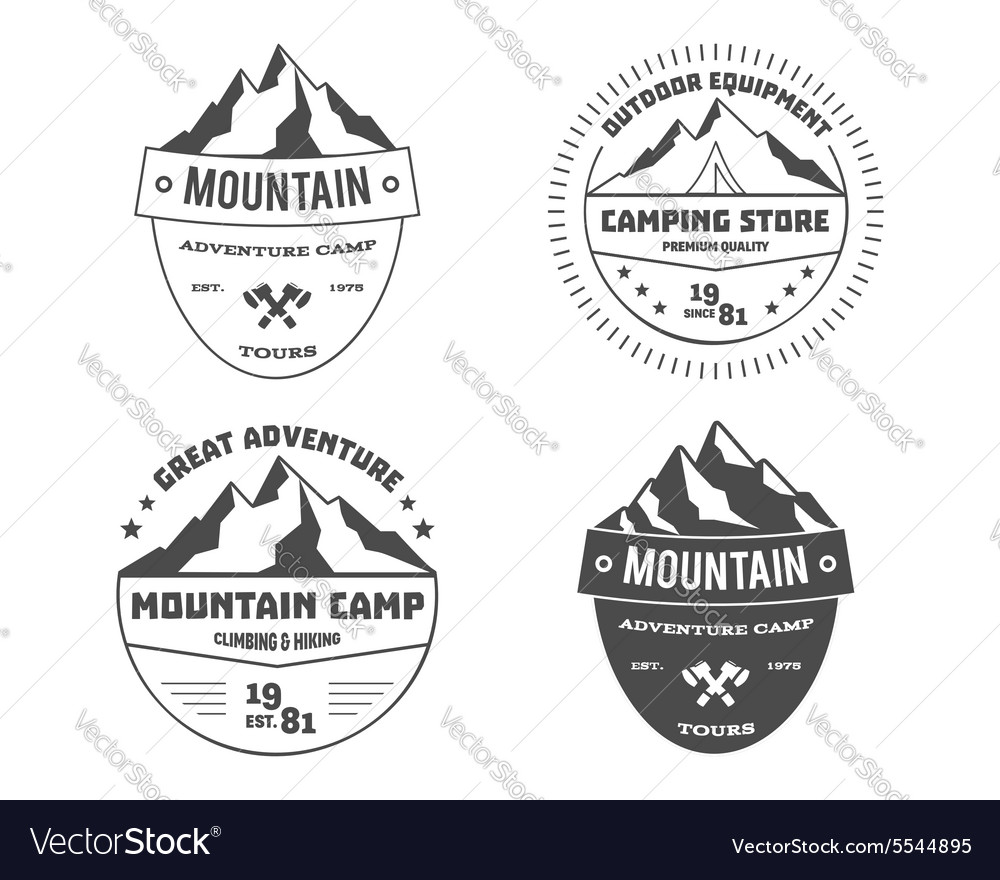 Set of monochrome outdoor adventure and mountain vector image