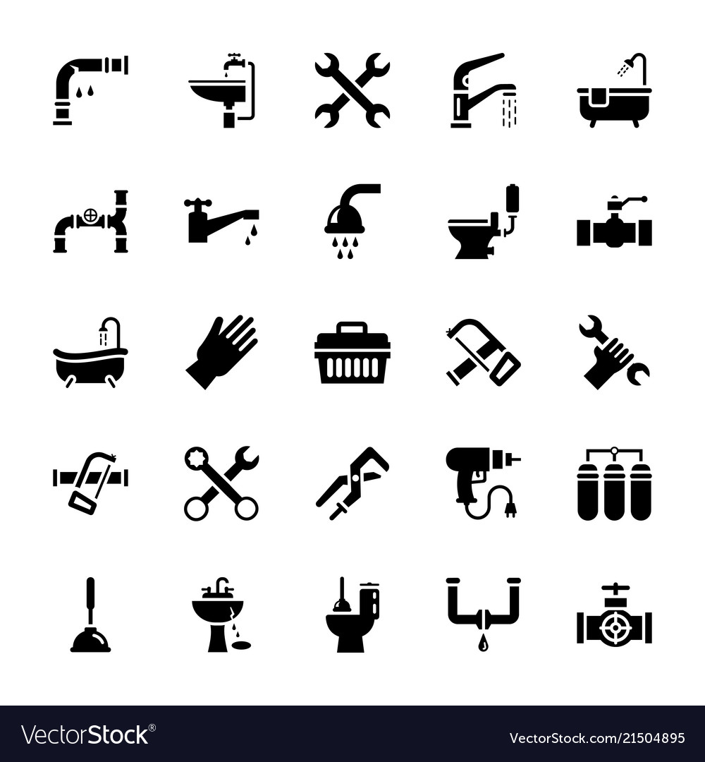 Set of plumbing glyph icons
