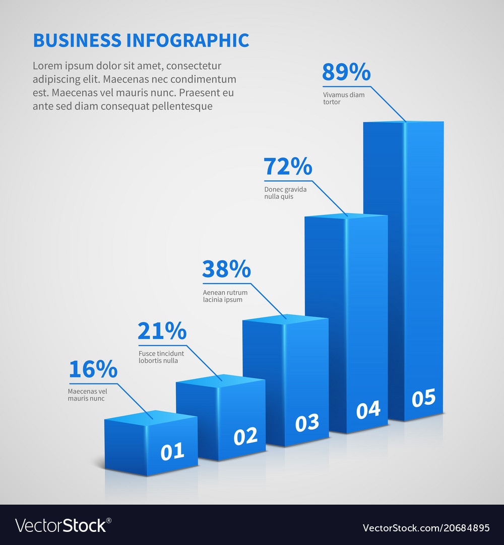 statistics business 3d graph bar chart royalty free vector