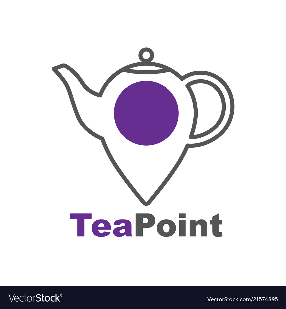 Tea point logo tea bar emblem teapot or kettle