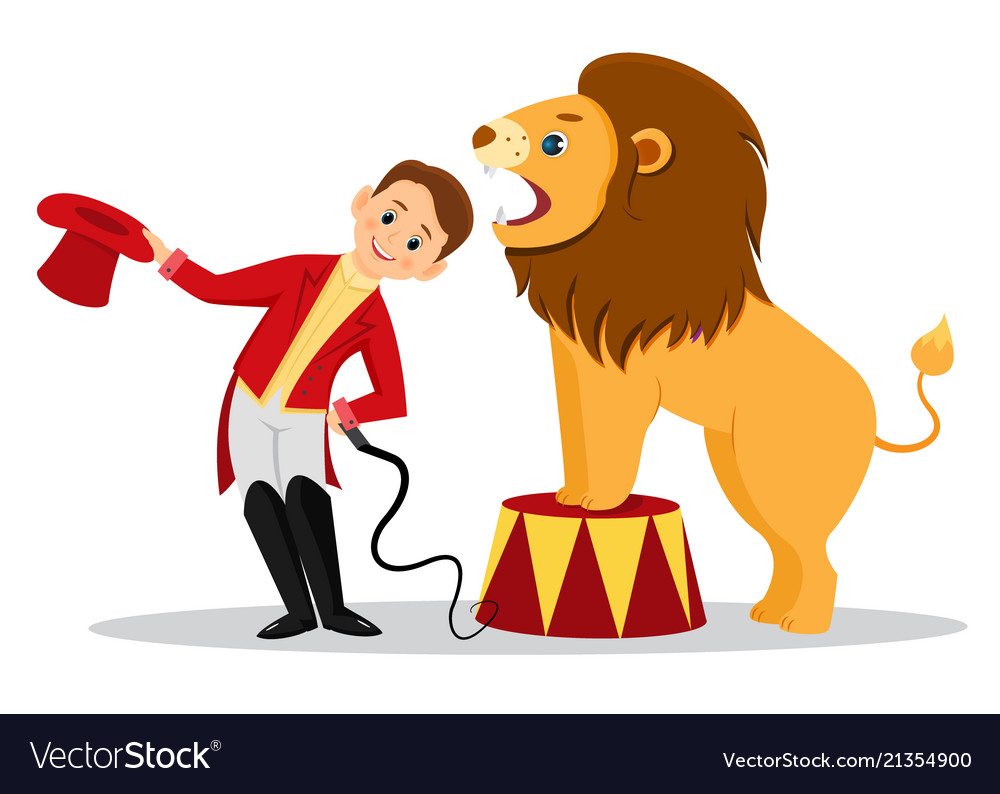 Cartoon lion tamer puts his head in the jaws of