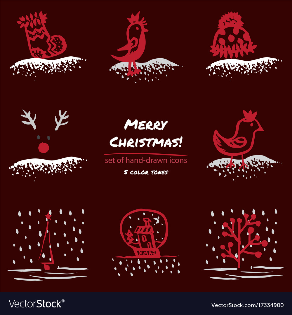 Christmas hand drawn sketch icons on dark red