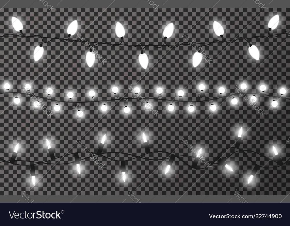Christmas lights on transparent background white