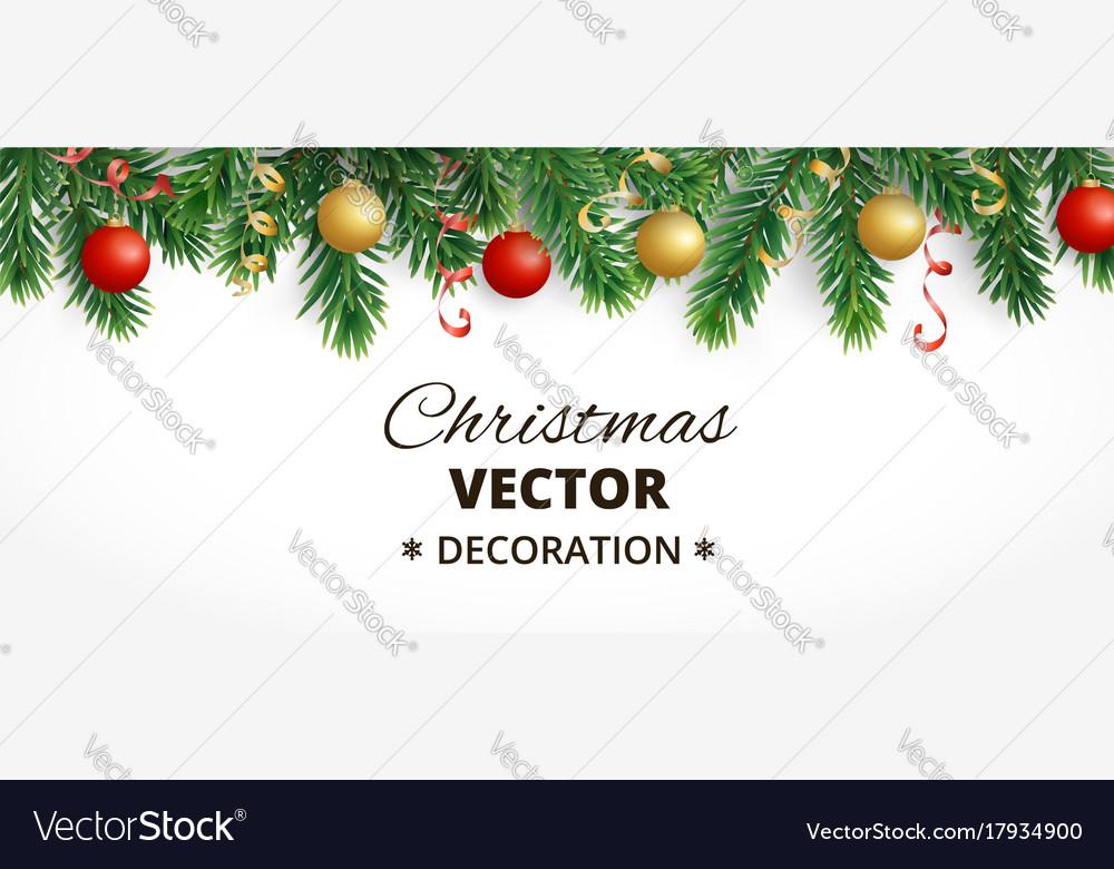 Horizontal christmas banner with fir tree garland