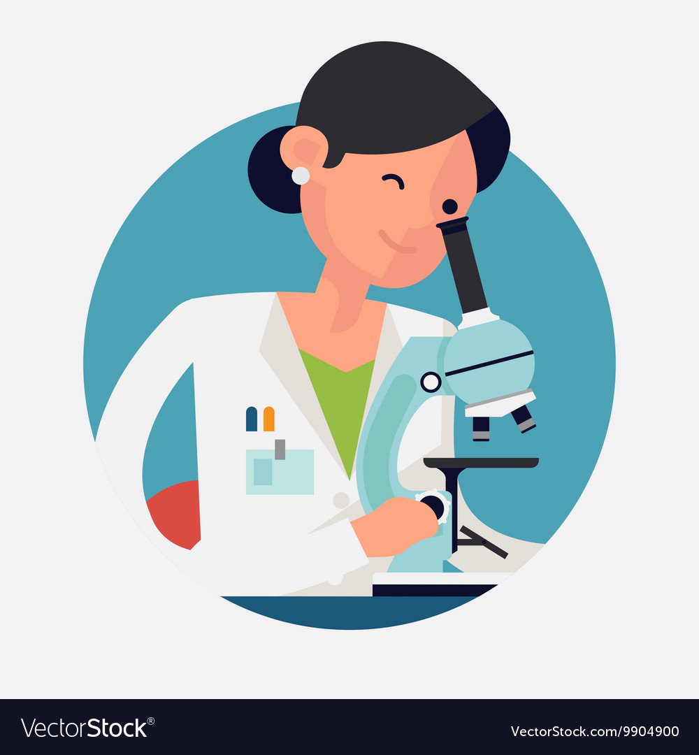 lady scientist working royalty free vector image vectorstock