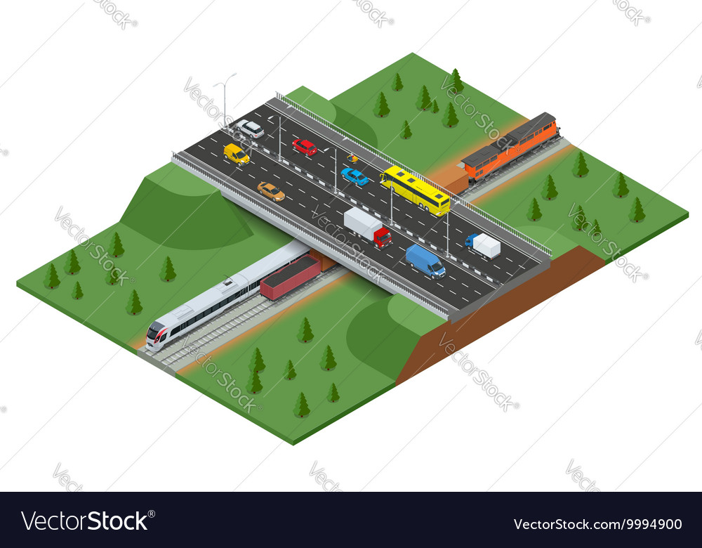 Railway road and track with the traffic Modern