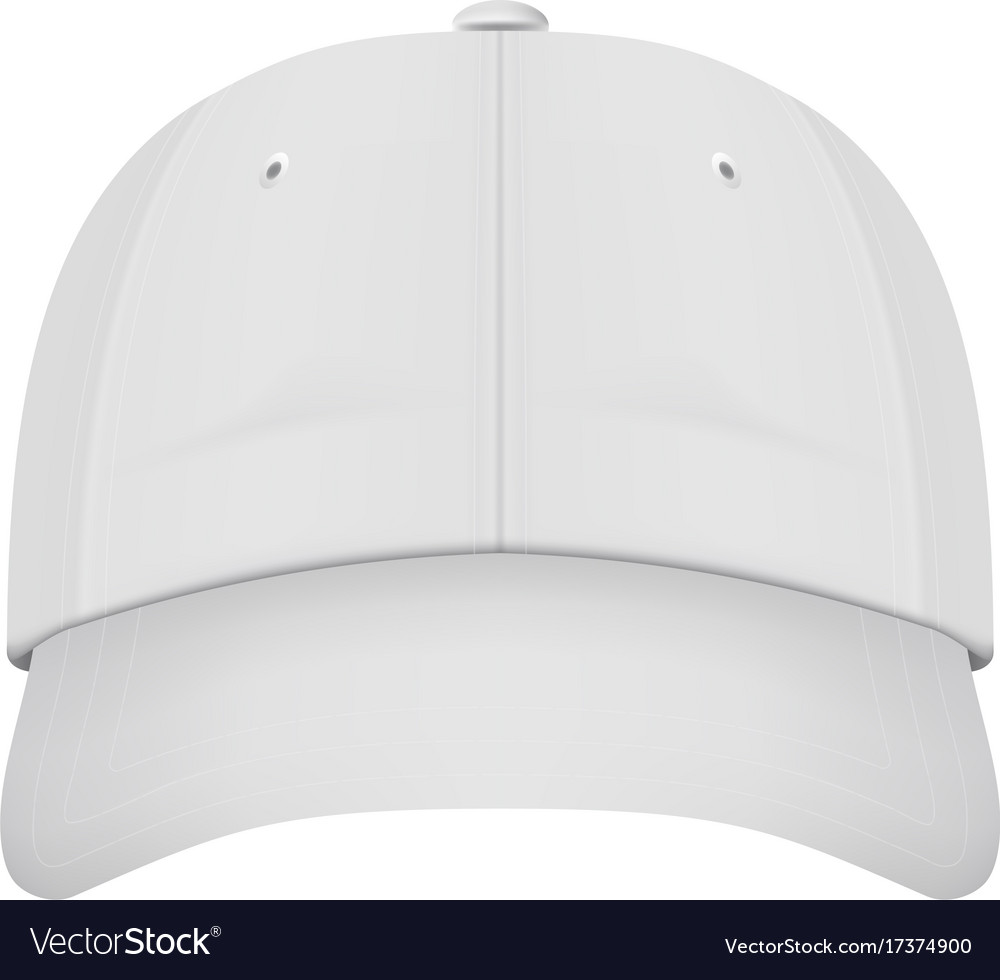 Realistic front view white baseball cap isolated Vector Image 7ce2cbf3371