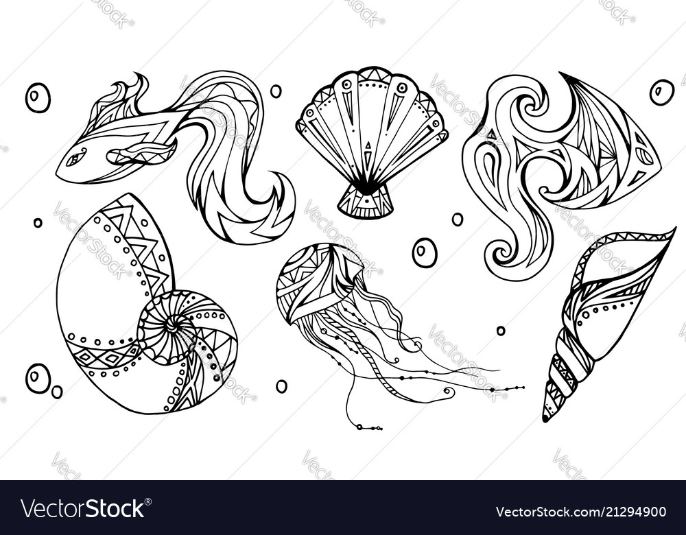 Set of outline seashells fish and jellyfish