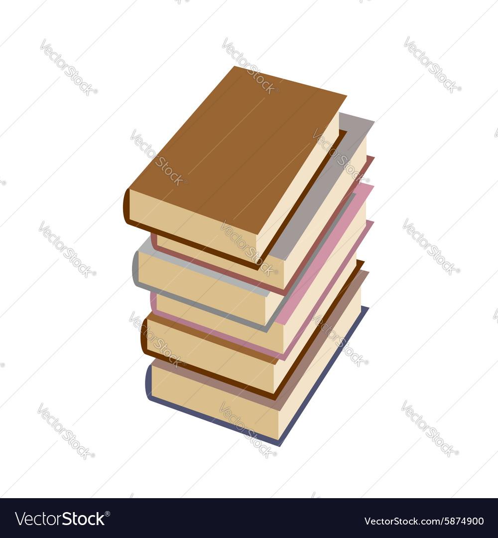 Stack books on white background