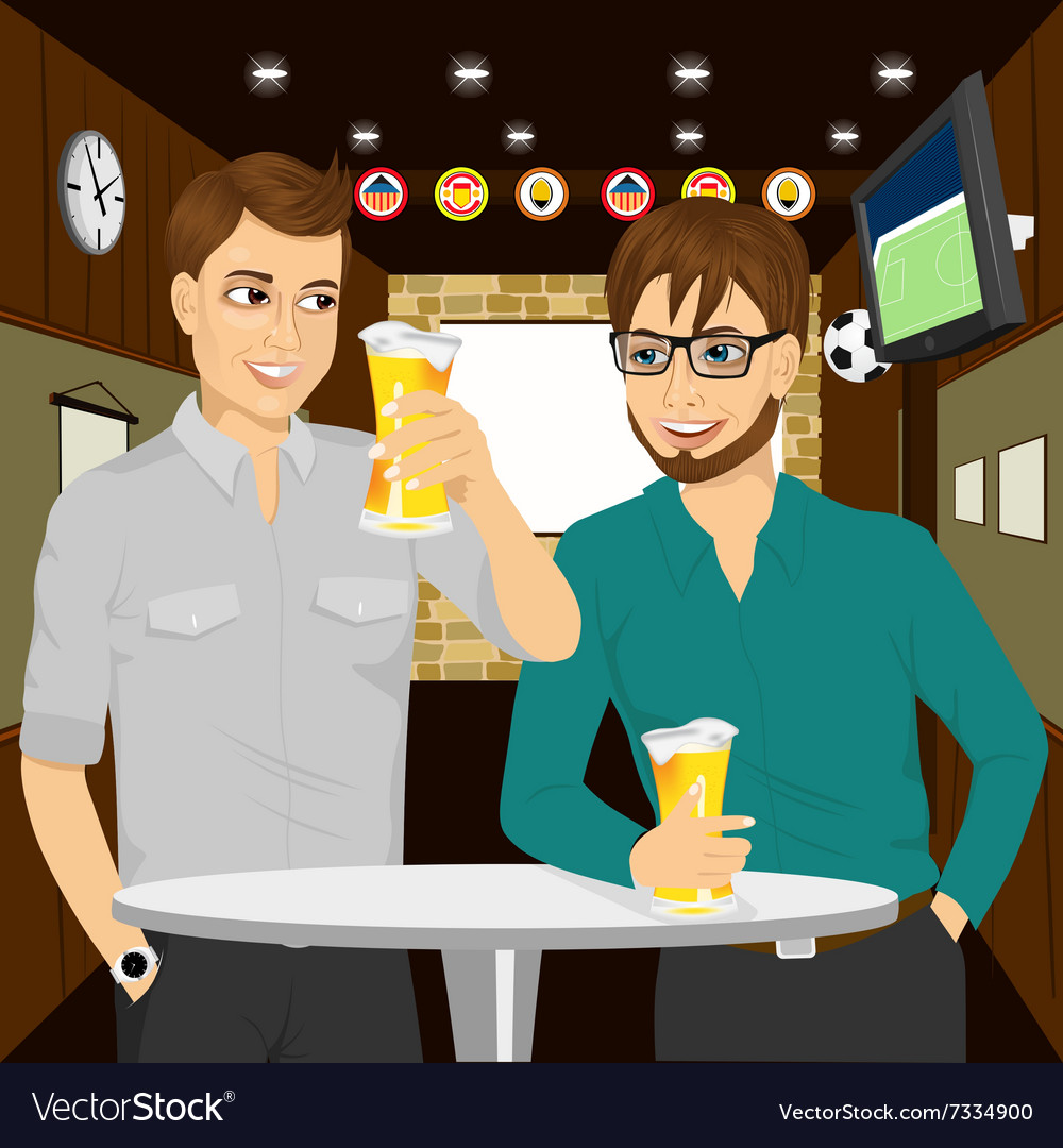 Two cheerful young men talking to each other vector image