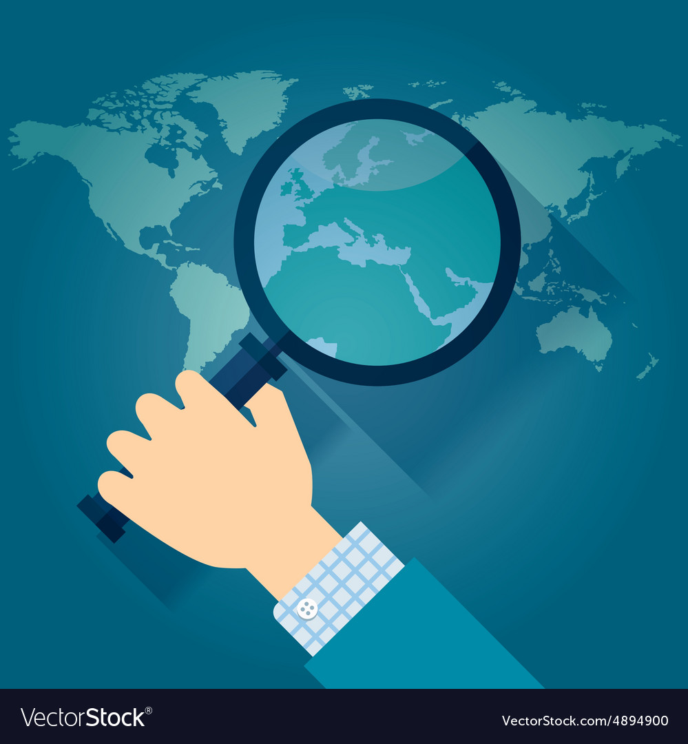 World map countries with europe magnifying glass vector image gumiabroncs Gallery