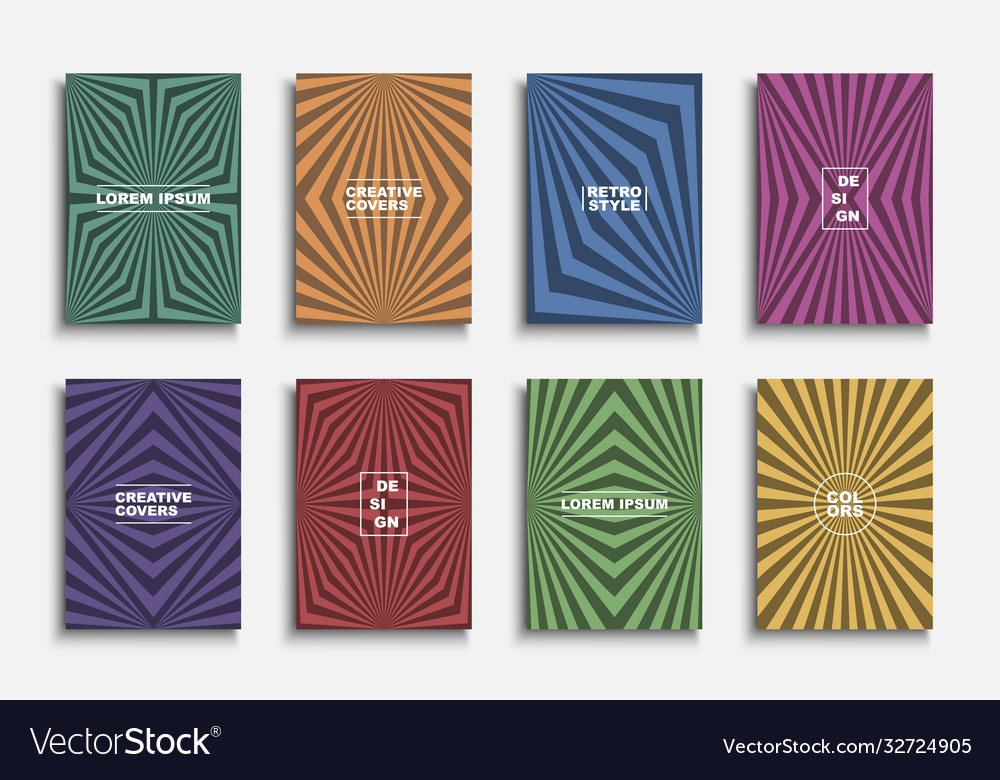 Collection colorful retro abstract templates