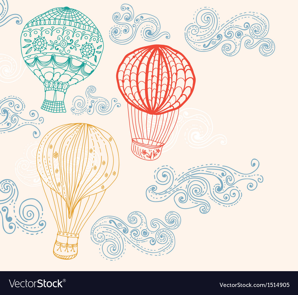 Hot air balloon in sky background