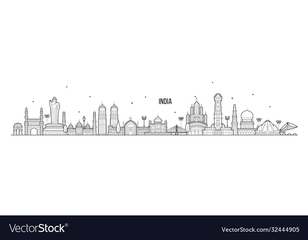 India skyline country buildings linear art