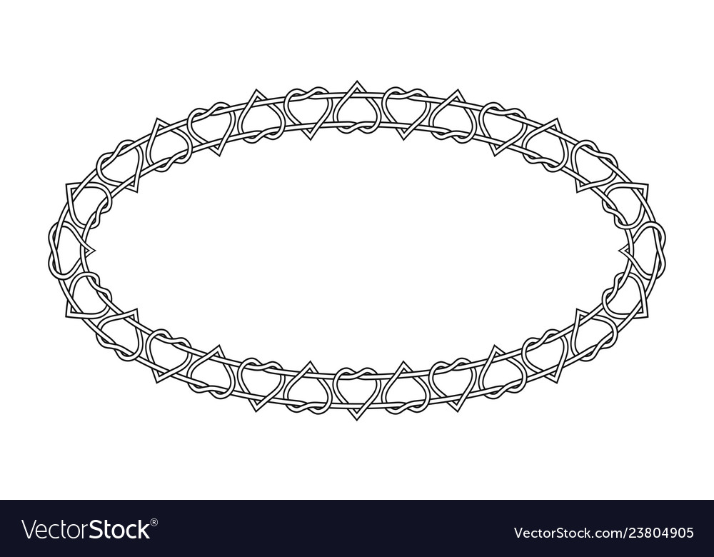 Oval frame pattern of twisted hearts