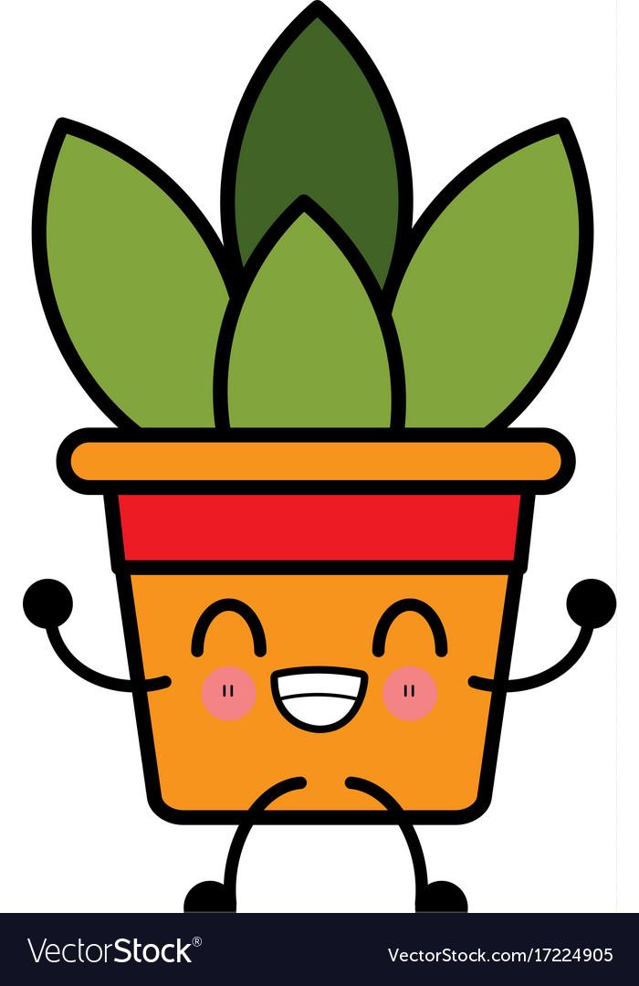 Plant In Vase Cute Kawaii Cartoon Royalty Free Vector Image