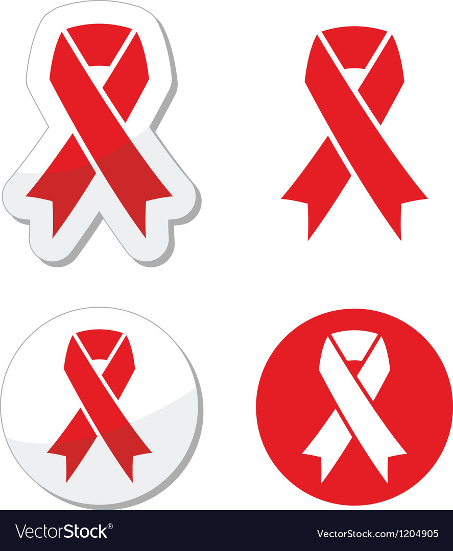 Red Ribbon Aids Hiv Heart Disease Stroke Vector Image