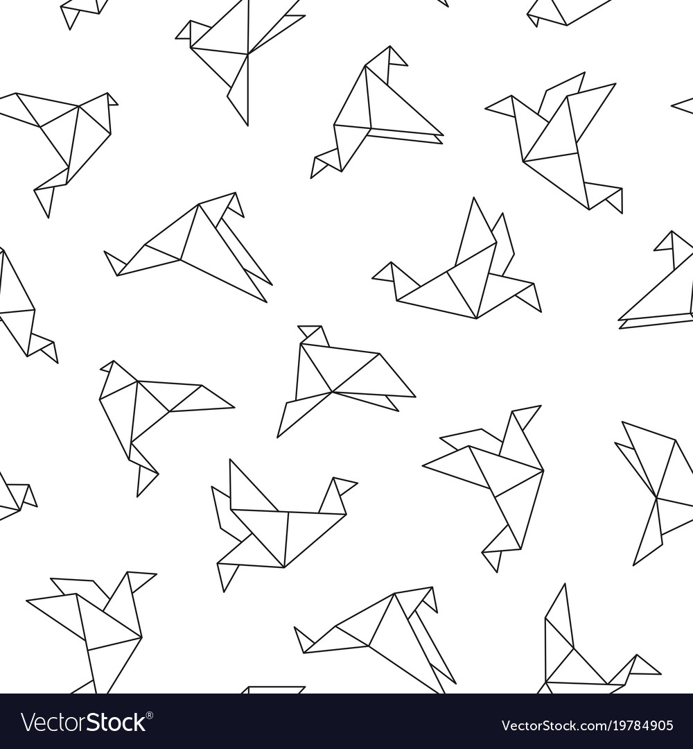 Seamless Pattern With Origami Birds Vector Image