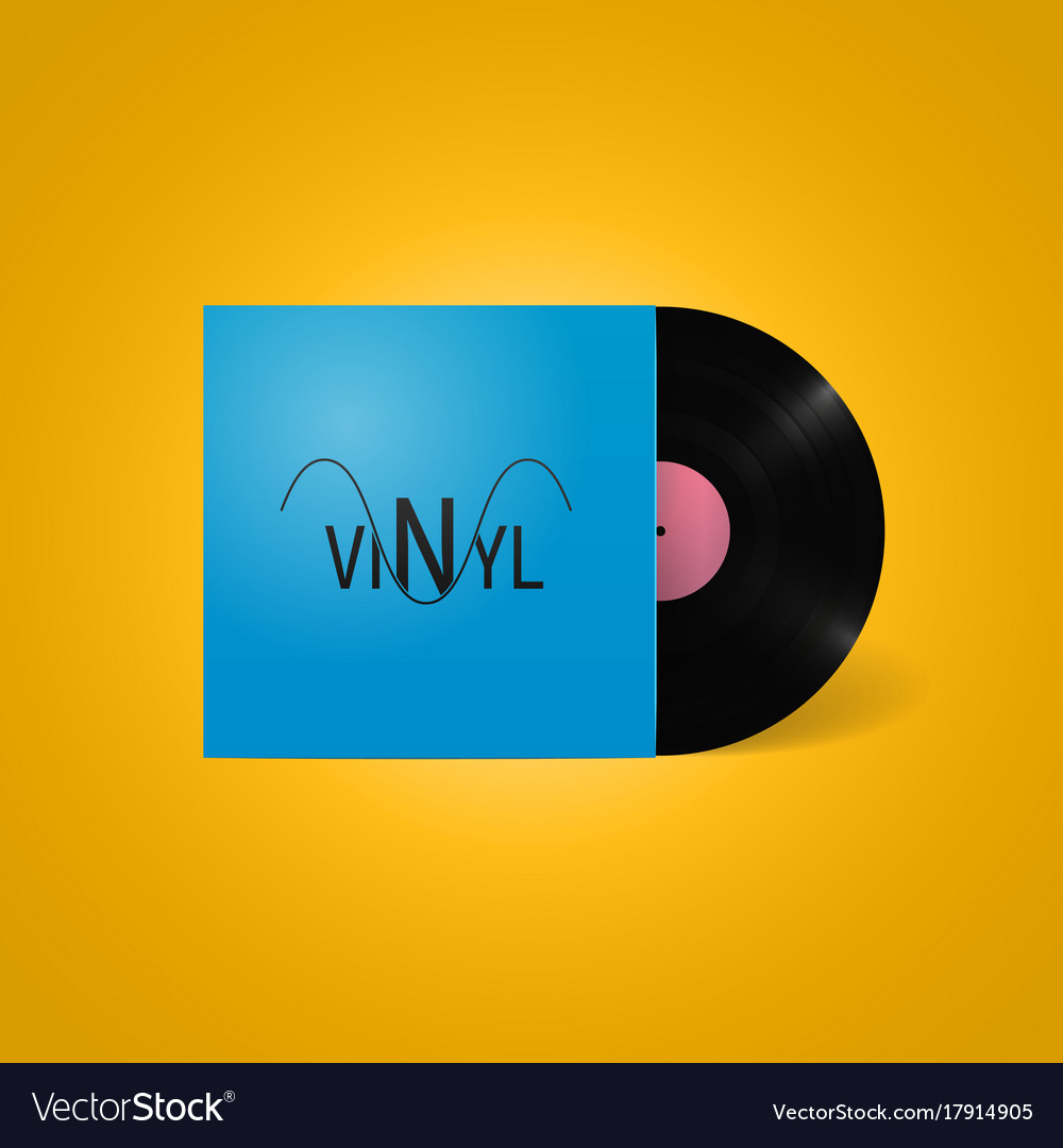 Vintage vinyl record in a blue paper case with