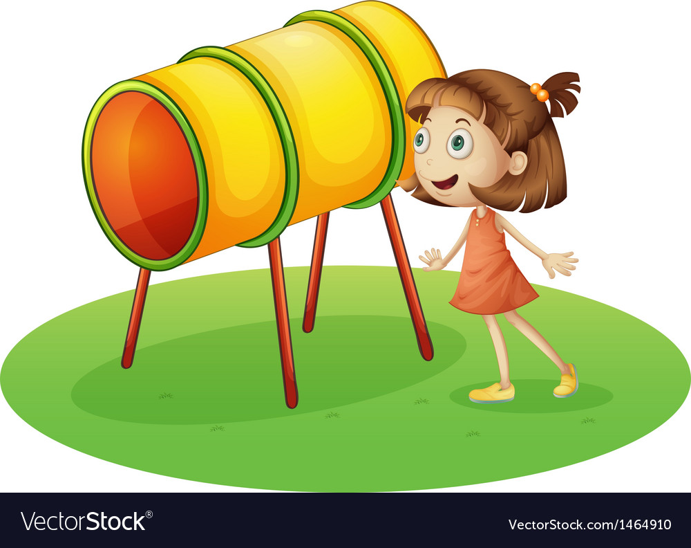 A girl looking at the rotating drum
