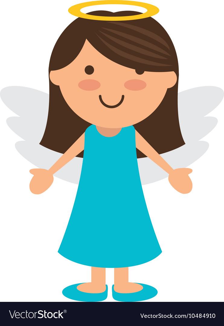 Angel girl cartoon vector image
